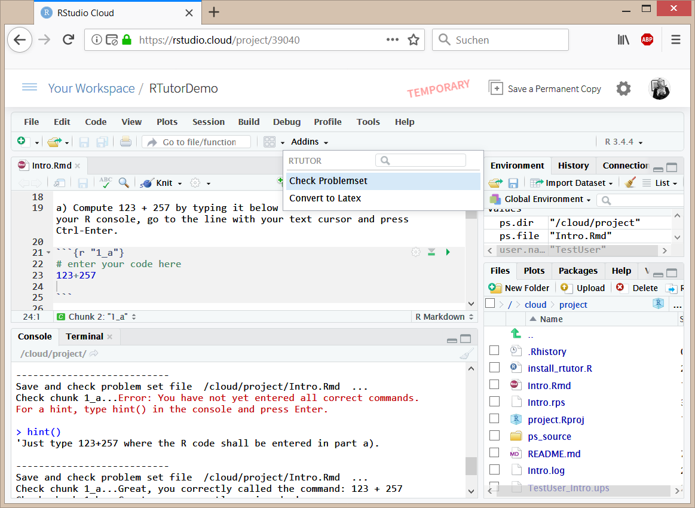 Interactive RTutor Problemsets via RStudio Cloud